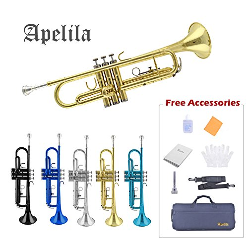 TRUMPET - Apelila Bb Key Brass Gold Lacquer with Care Case Valve+Mouthpiece+Strap+Gloves