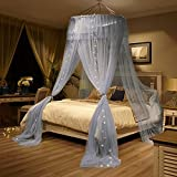Mengersi Mosquito Netting Canopy Star Led Lights Twin Full Queen/King Size Bed. Princess Girl Boy Bed (Round Canopy + Led Lights, Gray)