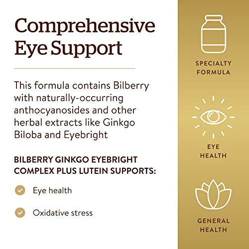 Solgar – Bilberry Ginkgo Eyebright Complex Plus Lutein, 60 Vegetable Capsules