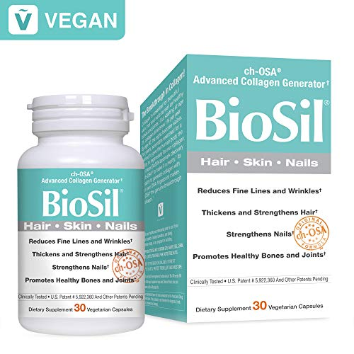 BioSil by Natural Factors, Hair, Skin, Nails, Supports Healthy Growth and Strength, Vegan Collagen,...