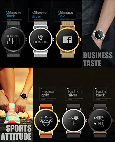 Hangang Fitness Tracker, Custom Activity Tracker with Heart Rate Monitor, Multiple Sport Modes Smart Watch Men, Women (Steel-Black) by Hangang (Image #5)