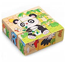 DEBON Wooden Cube Block Jigsaw Puzzles Early Educational Toys for Babies or Children (Animals)