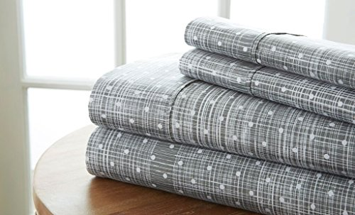 Becky Cameron Polkadot Printed Patterned Quality 4 Piece Sheet Set, Queen, Gray