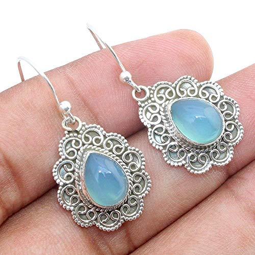 Kanika Jewelry Trove Blue Chalcedony 925 Sterling Silver Vintage Earrings, Handmade Earrings, Dangle Earrings for Womens, Wire Designed Beautiful Earrings for Gift