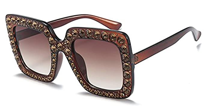 b0d25682e6 OVERSIZE VINTAGE RETRO Style BLING RHINESTONE Square Frame SUNGLASSES  (Brown)