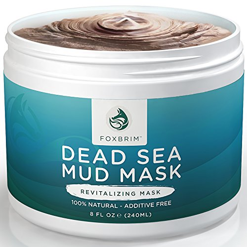 Pure Dead Sea Mud Mask - 100% Natural Clay Face Mask by Foxbrim - Additive Free - Restoring & Detoxifying Dead Sea Mud Mask for Acne, Tone and Lines - Imported from Israel - 240ml/8oz (Juice Vaporizer Natural)