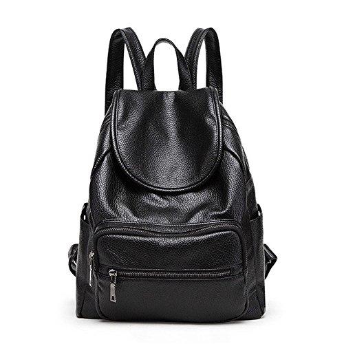 (KJVHJN Women's Backpack Litchi Pattern PU Daypack Waterproof Zipper Casual Outdoor Travel Shopping Black College School Bag (Color : Black, Size : 301433cm) )