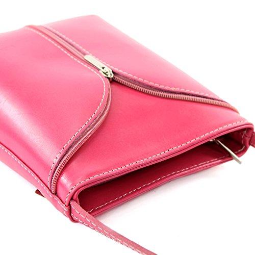 ModaModa de–Italiana. Piel Mujer Bolso de mano bolsa de hombro Girl Kleine Bandolera D19 rosa oscuro