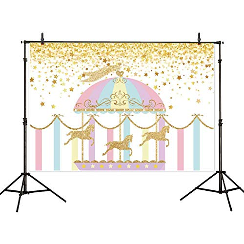 Allenjoy 7x5ft Vinyl Photography Backdrop Circus Carousel Playground Twinkle Gold Stars for Kids or 1st Birthday Background Decorations Photo Studio Props Pictures -