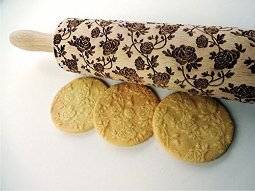 Embossing rolling pin Roses wreath. Laser engraved dough roller