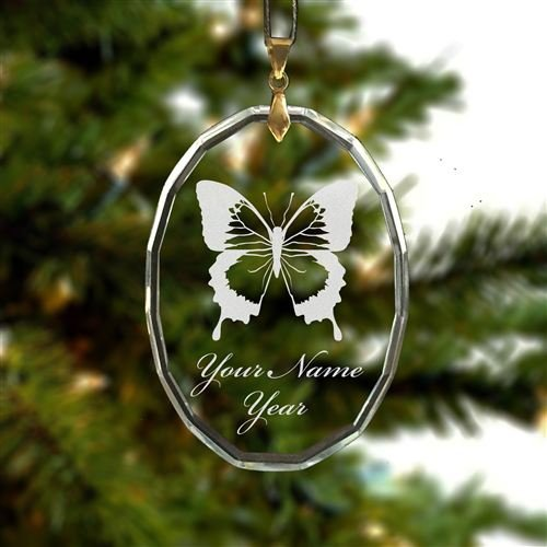 Personalized Oval Crystal Christmas Ornament - Swallowtail Butterfly