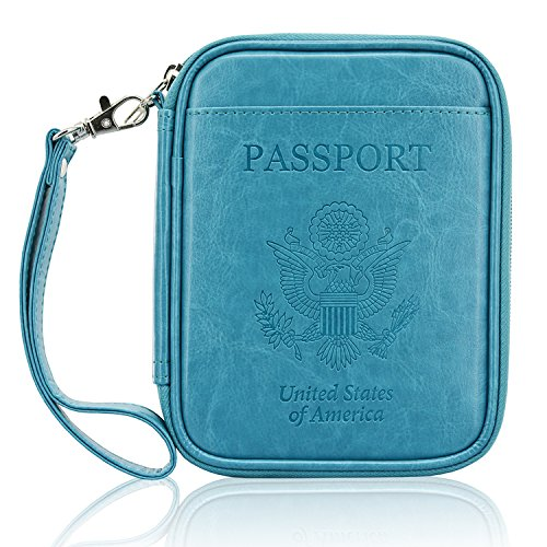ACdream Leather RFID Blocking Wallet Case Bag for Family Travel Passport Holder, Sky Blue