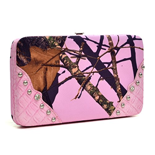 Purse Snap Canvas Wallet Frame Wallet with Faux Leather Croco Trim - Camouflage/ Pink (Pink Trim Snap)