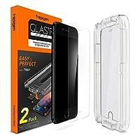 Protector de pantalla de vidrio templado Spigen [con kit de instalación] diseñado para iPhone 8 Plus (paquete de 2)
