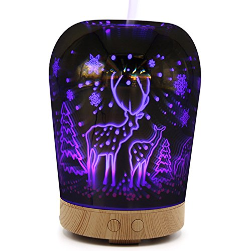YLINGSU Aromatherapy Diffusion 3D, 100ml Essential Oil Mute Humidifier with 5 color changes Starburst LED light, 3D indoor light (purple)