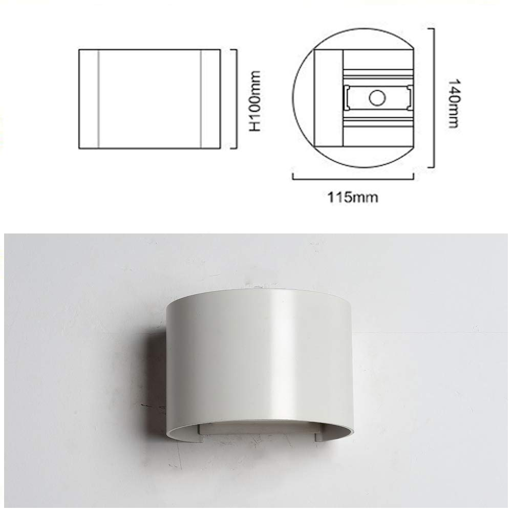 7W Blanco Apliques de Pared Led Lamparas de Pared impermeable PI65 con Luz Blanco C/álido Universal para Decoraci/ón de Casa Jard/ín de Lluminaci/ón de Exterior y Lluminaci/ón de Interior