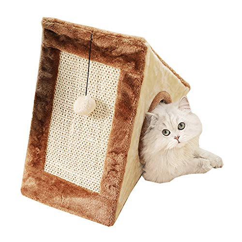 (Domkim Wood Pyramid Cat Bed Cave with Scratch Pad, Soft Cat Beds, Fully Collapsible Cat House/Caves Condo Tunnel Bed for Small Cats and Kittens (Small, Brown) )