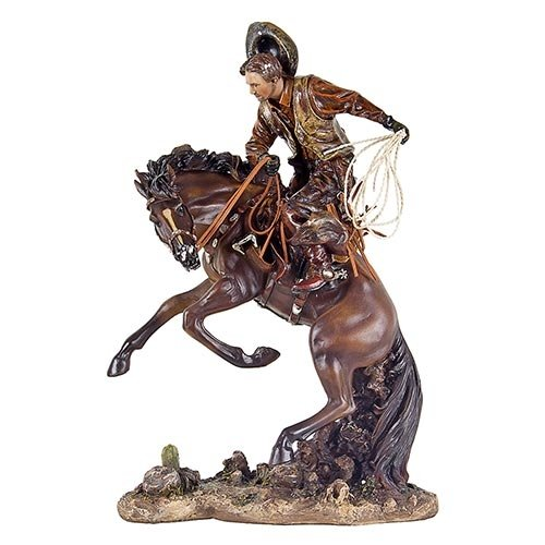 Escultura Cowboy Domando Cavalo em Resina Oldway - 46x31cm