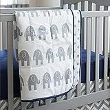 Carousel Designs Navy and Gray Elephants Crib Comforter