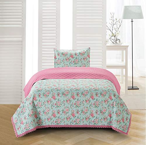 - Sleeping Partners Olivia Crochet Trimmed Floral 2 Piece, Twin, Blue Quilt-Set,