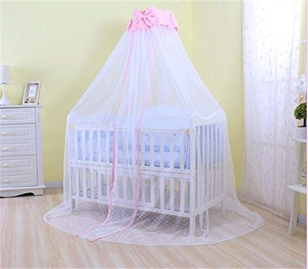 Baby Mosquito Net,Kids Bed Canopy, 50D Polyester Yarn, with Stand, Five-Speed Adjustment Height ,Dome Canopy Netting Bed Canopy (Pink) by WXH (Image #4)