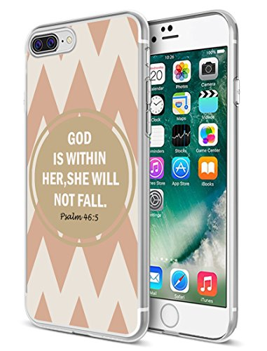 I8 Plus Case Biblical Poetry,Ecute Soft Slim Clear Rubber Side + Style Hard Back Case Compatible with iPhone 8 Plus(2017) and iPhone 7 Plus(2016) - God is Within Her,She is Not Fall