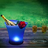 Bryt LED Lighted Ice Bucket - Champagne, Wine and Beer Ice Bucket for Parties with Blue Bucket Light - Keeps Drinks Chilled