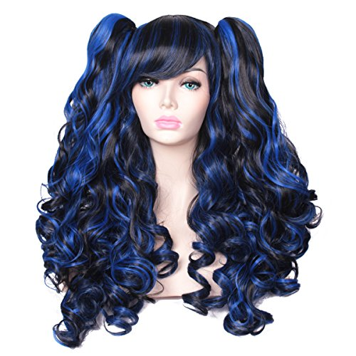 ColorGround Long Curly Multi-Color Cosplay Wig with 2 Ponytails(Black with Blue) -