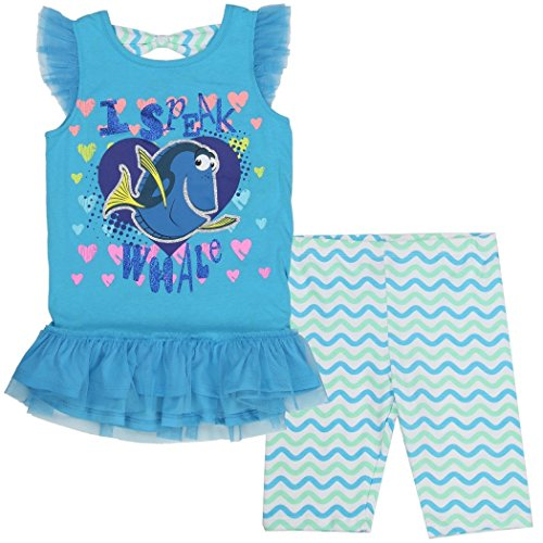 [Disney Pixar Finding Nemo Dory Girls 2 Pc Leggings Set (5, Blue)] (Dory And Nemo Costumes)