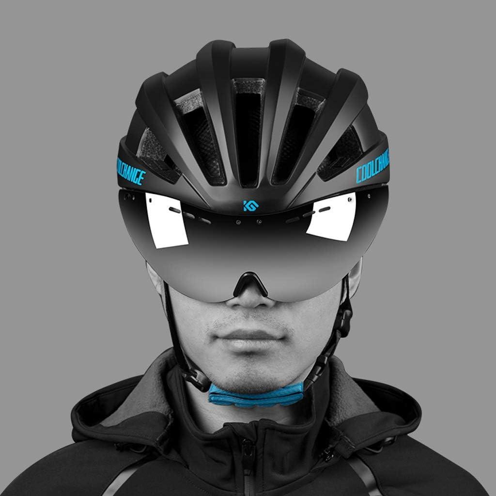 Color : Blue ADQX Casco de Ciclismo con Gafas Gafas Equipo Masculino y Femenino de Bicicleta de monta/ña de Carretera Integrado Casco