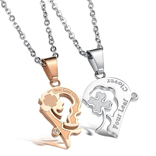 [Dixivi Jewelry a Pair Valentine Couple Stainless Steel Kiss Four Leaf Clover His and Her Necklace] (Matching His And Her Costumes)