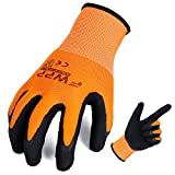 FWPP High Visibility Nylon Latex Foam Coated Work Gloves,Breathable Soft Wearproof Non-slip Comfortable Safety Protective Glove Pack of 12Pairs Large Fluorescence Orange