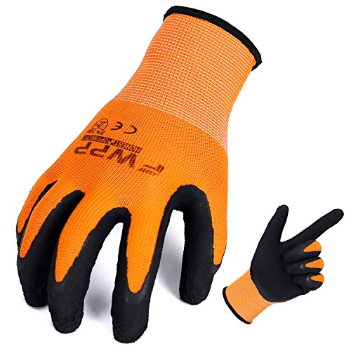 FWPP High Visibility Nylon Latex Foam Coated Work Gloves,Breathable Soft Wearproof Non-slip Comfortable Safety Protective Glove Pack of 12Pairs Large Fluorescence Orange by FWPP