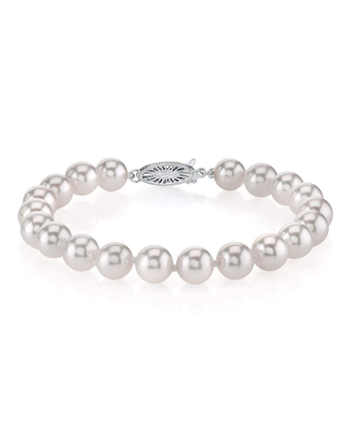 THE PEARL SOURCE 18K Gold 7.5-8mm AAA Quality Round White Japanese Akoya Saltwater Cultured Pearl Bracelet for Women