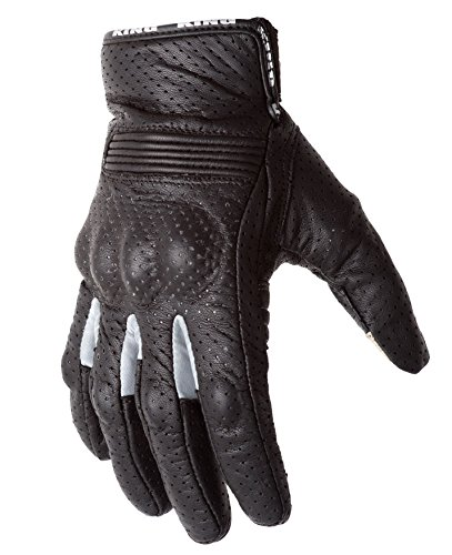 (Motorcycle Biker Gloves Black Premium Leather | Touchscreen | Padded All Weather Feature for Men and Women | Breathable Moisture Wick Air Flow Technology Between Fingers | SWIFT (Silver-Lg))