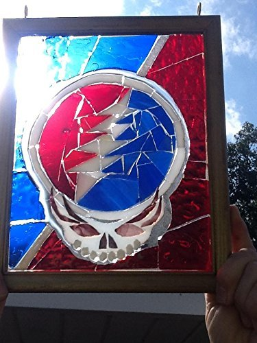 Stealie Stained Glass Window Art Sun catcher Grateful Dead by Mountain Mosaics
