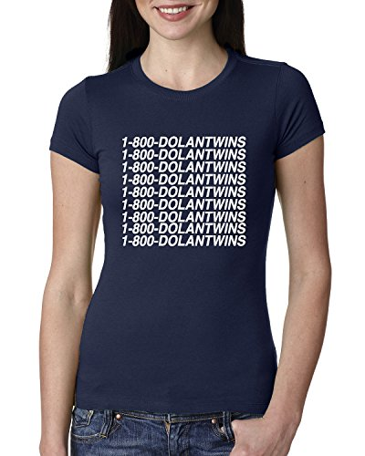 1-800-DolanTwins | Dolan Twins | Vine Youtube | Womens Junior Fit Tee Graphic T-Shirt, Navy, Medium (Shirt Old Navy Ladies Junior)