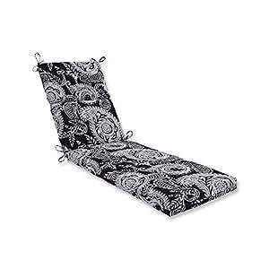 """72,5""""blanco y negro de remolino de Paisley al aire libre Patio Chaise Lounge cojín"""