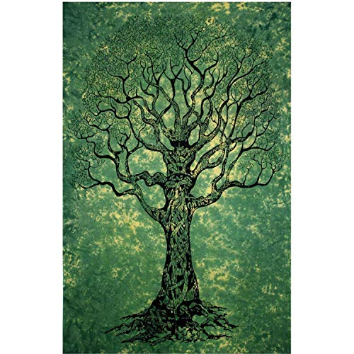 Your Spirit Space (TM Green Tree of Life Tapestry-Good Luck. Quality for Home or Dorms Psychedelic Hippie Asian Contemporary Canvas Wall Hanging Art. The Ultimate Bohemian Tapestry Decor