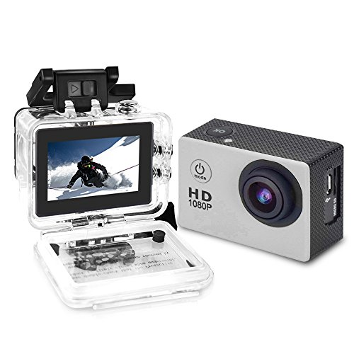 YUNTAB Action Camera Sport DV 1080P Mini 30-Meter Waterproof 2 inch TFT LCD HD 5MP Helmet Camera Cam Extreme Action Camcorder with Battery, Charger and Accessories (Silver)