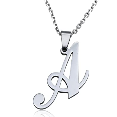 Funrun womens mens stainless steel initial letter pendant necklace funrun womens mens stainless steel initial letter pendant necklaceletter a mozeypictures Choice Image