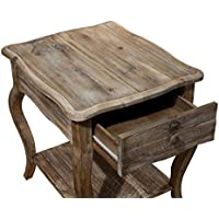 Alaterre Rustic Reclaimed End Table, Driftwood Brown