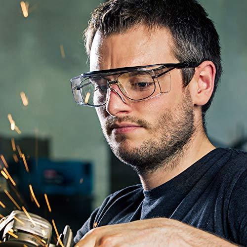 NoCry Over-Spec Lunettes de sécurité avec verres rayures enveloppante, avec certification ANSI Z87et OSHA et branches réglables et protection contre les rayons UV 400, Noir et Orange 5