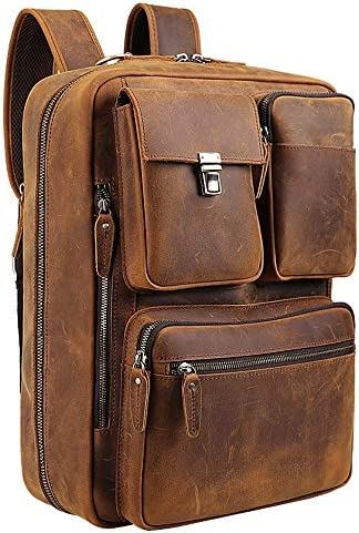Tiding Leather 15.6 Inch Laptop Backpack Convertible Briefcases Messenger Bag Shoulder Bag Business Travel Daypack
