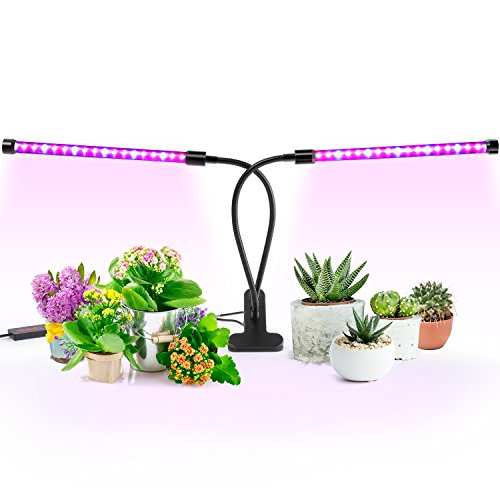 [2018 Upgrade Version] 18W Dual Head Timing Grow Light, Ankace 36 LED 5 Dimmable Levels Plant Grow Lights for Indoor Plants with Red/Blue Spectrum, Adjustable Gooseneck, 3/6/12H Timer, 3 Switch Modes (Red Plant Blue Led)