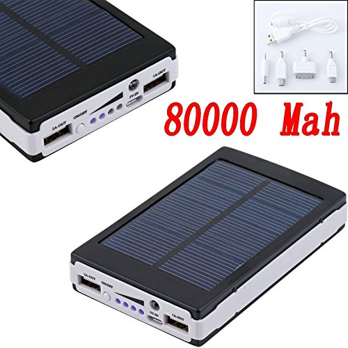 Black 80000mAh Dual USB Portable Solar Battery Charger Power Bank For Cell - Gift Boulevard Shop
