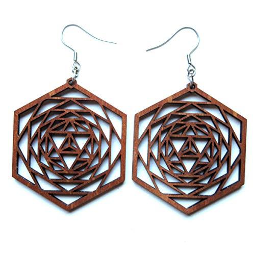 - Wooden Statement Earrings Merkaba Star, 0g, Large Boho Designer Jewelry