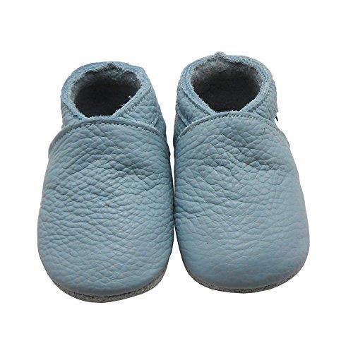 Sayoyo Premium WeichesLeder Lauflernschuhe Krabbelschuhe Babyschuhe Hell Blau