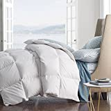 ROSE FEATHER Summer Spring Down Comforter Light Weight Duvet Insert Solid Fluffy Soft Warm Hypoallergenic Oversize TwinXL Full Queen King Cal King-White (King 106x90inch, White)
