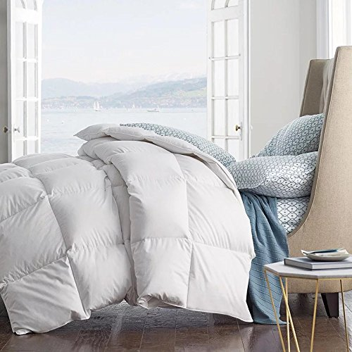 (ROSE FEATHER Summer Spring Down Comforter Light Weight Duvet Insert Solid Fluffy Soft Warm Hypoallergenic, White, Oversize King 108x94inch)